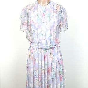 Vtg 70s Floral Pleated Dress